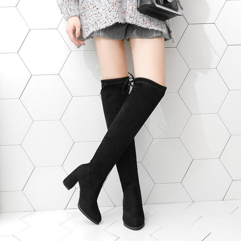 Over The Lace Up Sexy High Heels Knee Boots -  AboutTheSHOES