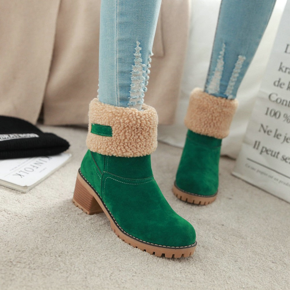 Winter Shoes Woman Fur Warm Square  Snow Boots -  AboutTheSHOES
