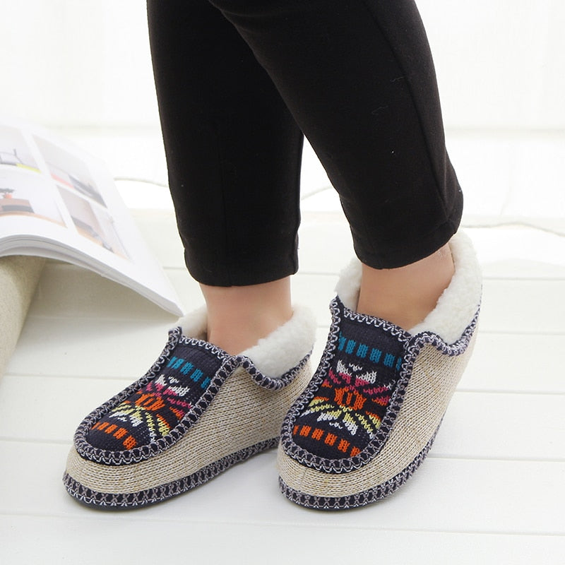 Winter Warm Plush Print Knitted Home Slippers -  AboutTheSHOES