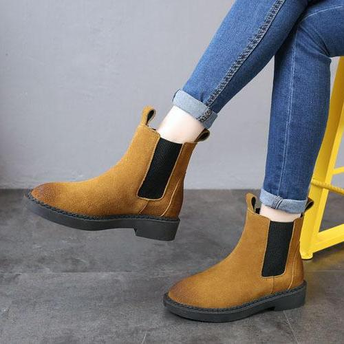 Platform Nubuck Cow Suede  Chelsea Boots -  AboutTheSHOES