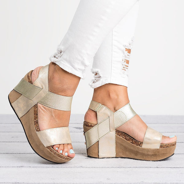 Peep Toe High Heels Wedges Sandals