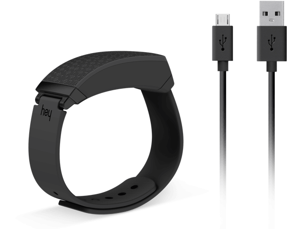 Black HEY Bracelet with micro usb charging cable