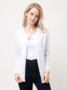Button Front Cardigan -  White