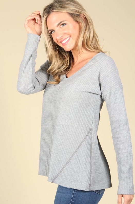 Waffle Knit Sweater- Grey - MISH Fashion and Swim