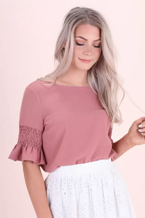 Gathered Sleeve Top-Ash Rose/ Deep Lagoon