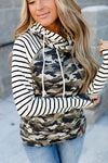 Camo Striped Double Hoodie - MISH Fashion and Swim