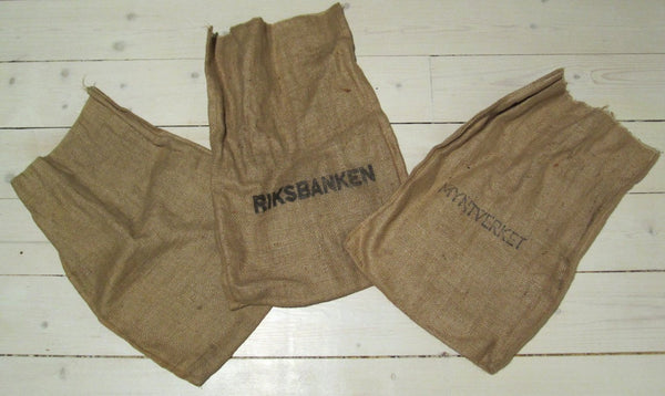 Money bag of jute fabric with stamp, use-Floby Överskottslager