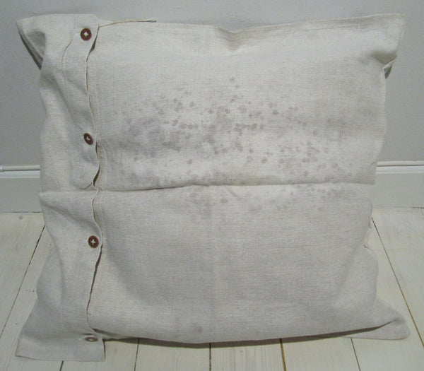 Pillow cover in linen with buttoning, used-Floby Överskottslager