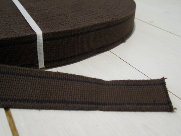 Cotton band brown with two black stripes, 28mm-Floby Överskottslager