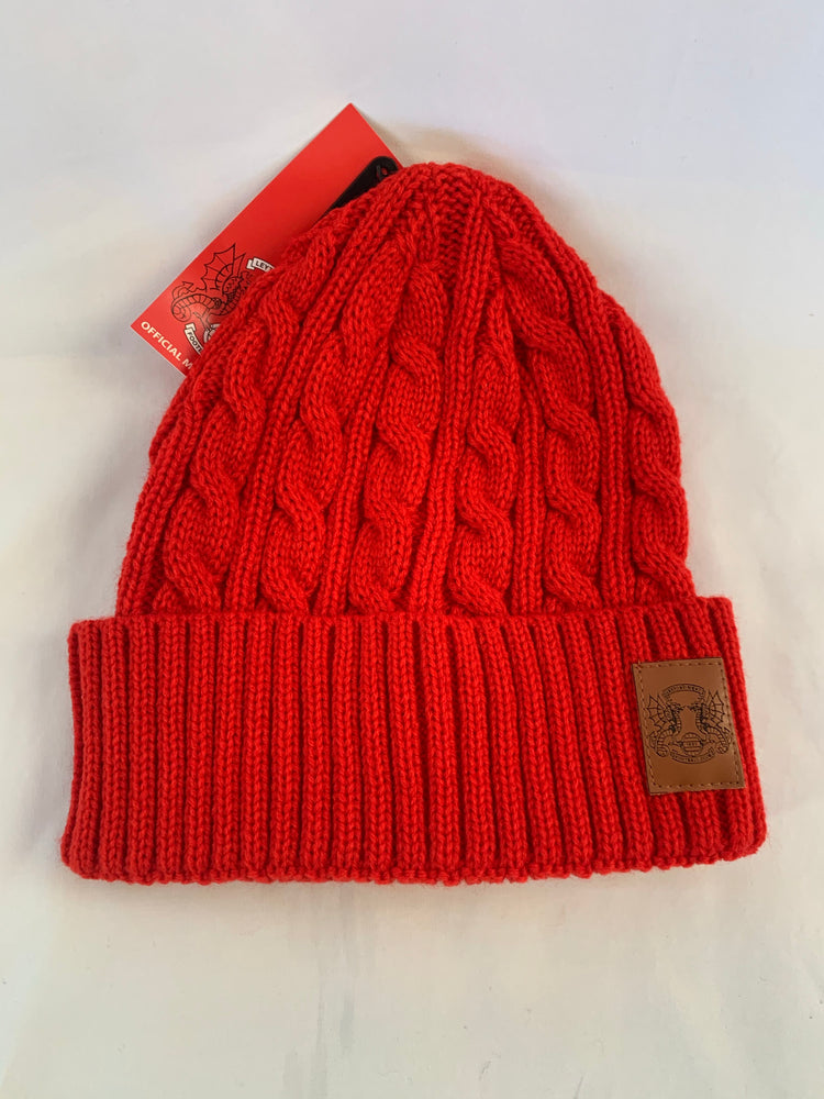 Red Cable Knit Hat and Scarf Set