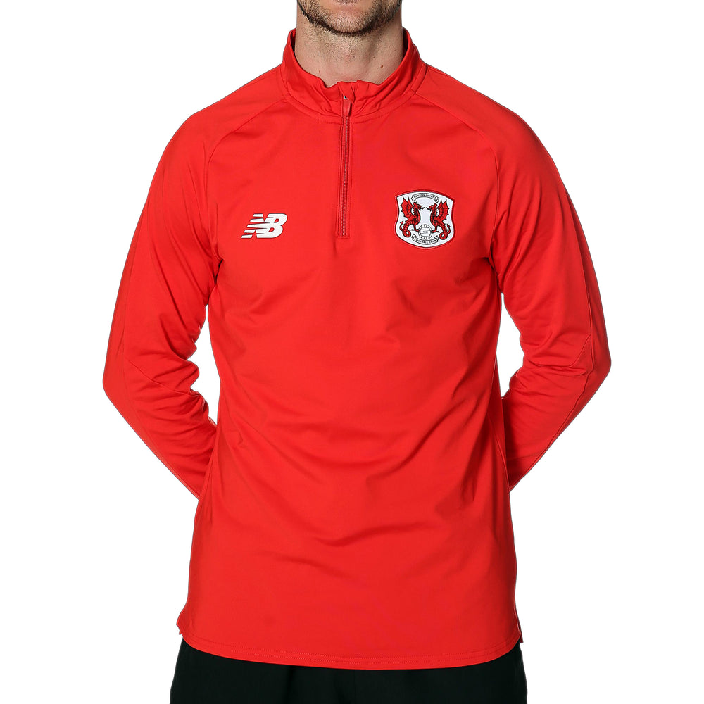 Mens Training 1/4 Zip Knit Red