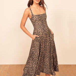 Sexy Suspender Leopard Print Dress