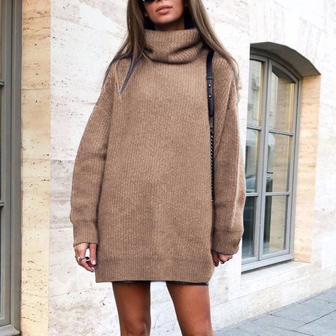 Casual solid color turtleneck sweater