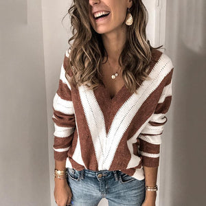 Casual Stripe V Neck Sweater