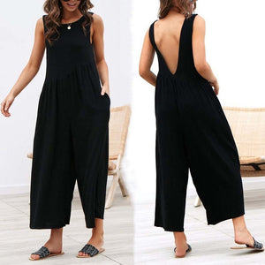 Fashion Pure Colour Sleeveless Vest Jumpsuits