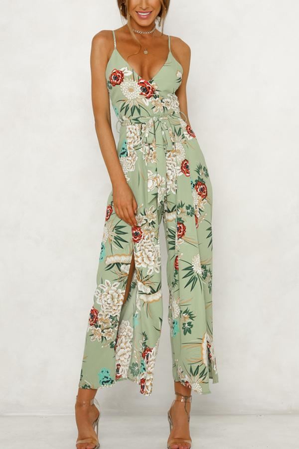 Fashion Green Floral Print Vacation Jumpsuit Rompers
