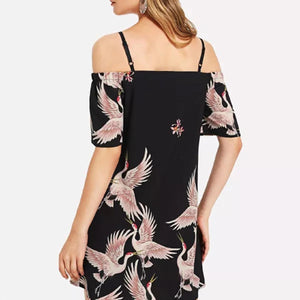 Fashion Floral Print Off-Shoulder Mini Dress