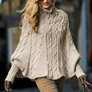 Fashion High-Neck Pure Colour Knitwear Sweater