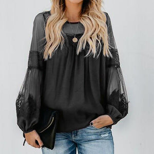Fashion Lace Splicing Round Neck Long Sleeve T-Shirt