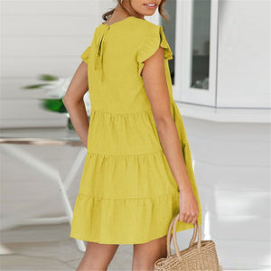 Women Plus Size Summer Short Sleeve Ruffle Loose Flare Casual T Shirt Mini Dress