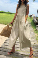 Casual Sleeveless Pleated Splicing High-Waist Pure Colour Jumpsuit