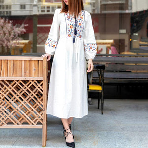 Belted Ethnic Style Embroidered   Midi Dress