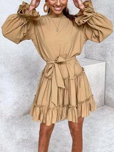 Fashion Ruffled Belted Long Sleeve Pure Colour Dress