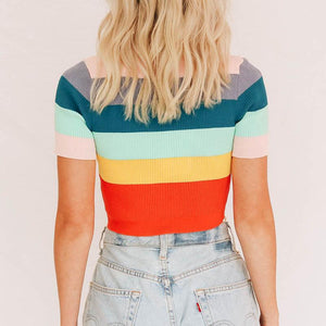 Fashion Rainbow Sleeve Round Neck Short Sleeve Sweater