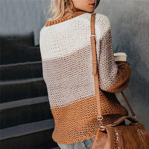 Fashion Colouring Long Sleeve Round Neck Sweater