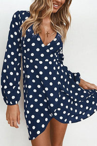 Fashion Dot Print Long Sleeve Mini Dress