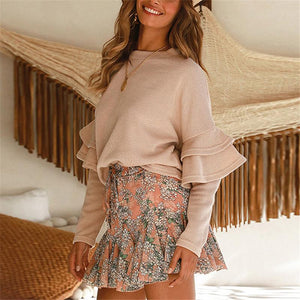 Fashion Round Neck Flounce Long Sleeve Sweater