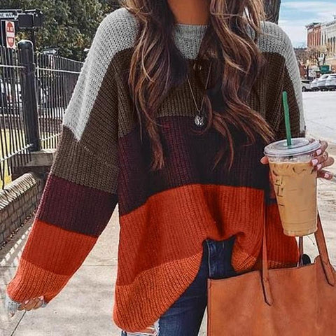 Fashion Solid Color Spliced Sweater