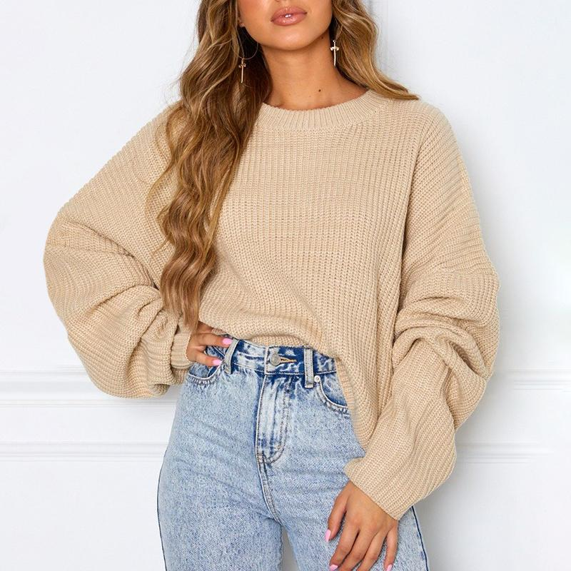 Casual Round Neck Loose Long Sleeve Sweater
