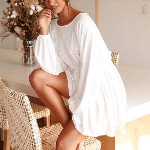Fashion Round Neck Solid Color   Long Sleeve Mini Dress(Video)