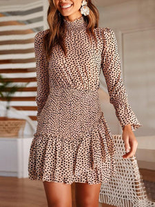 Fashion Print Ruffle Long Sleeve Waist Slim Dress
