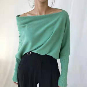 Fashion boat neck loose solid colour sweater