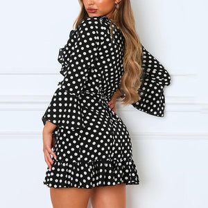 Sexy V-Neck Polka Dot Long Sleeve Ruffle Dress
