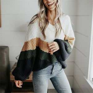 Fashion V-neck Lantern Sleeves Contrast Color Sweater
