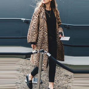 Fashion leopard print long sleeve loose imitation fur coat