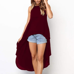 Fashion Ruffled Irregular Sleeveless Pure Colour Casual Dresses