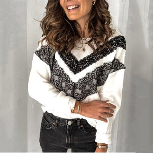 Women's fashion round neck lace stitching sweater