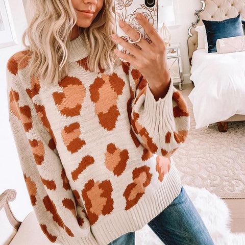 Women's Casual Leopard Print Long Sleeve Sweater
