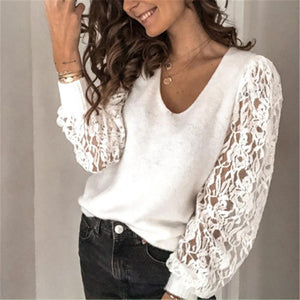 Casual V Neck Lace Patchwork Sweater