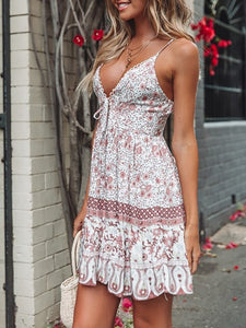 Bohemian V Neck Printed Colour Bare Back Off-Shoulder Dress