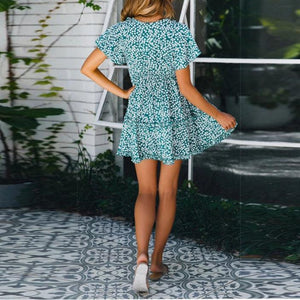 Fashion Casual V-Neck Print   Short-Sleeved Sexy Dress