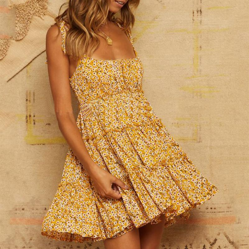 Fashion Off-Shoulder Sling Printed Colour Mini Dresses