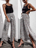 Fashion Drawstring Leopard Print Elastichigh-Waist Casual Pants