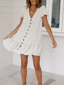 Fashion Deep V Single Breasted Short Sleeve Dresses