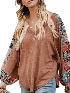 Fashion Round Neck Printed Colour Long Sleeve T-Shirt