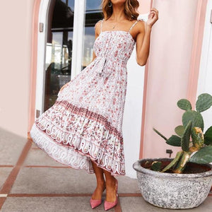 Fashion One-Shoulder Print Strap Dress